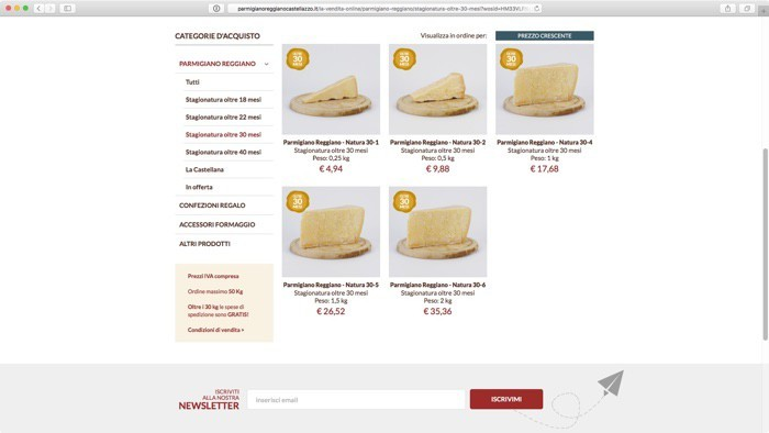 i formaggi in vendita