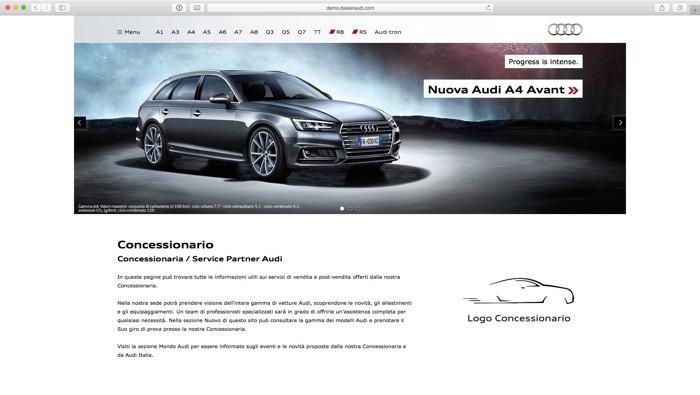 Home Page, con modelli e altre sezioni