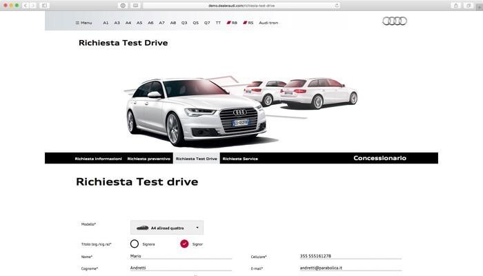 i form per richiedere test drive, interventi, informazioni sui modelli...
