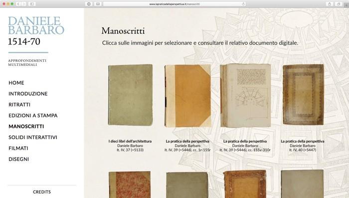 la sezione con i manoscritti
