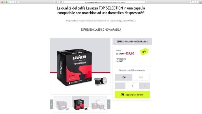 acquista online le cialde Lavazza compatibili Nespresso