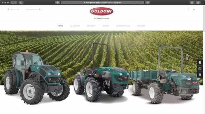 nuovo sito web Goldoni trattori