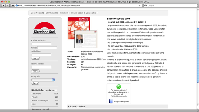 Scheda di un bilancio, con documento sfogliabile; gli utenti registrati possono scaricare il documento