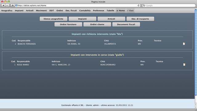 Home page di xpepper, con lista degli ordini e degli impianti con interventi in corso