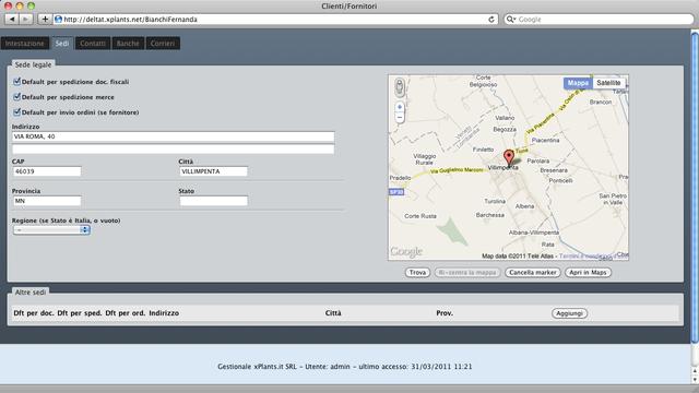 Localizzazione degli impianti con Google Map