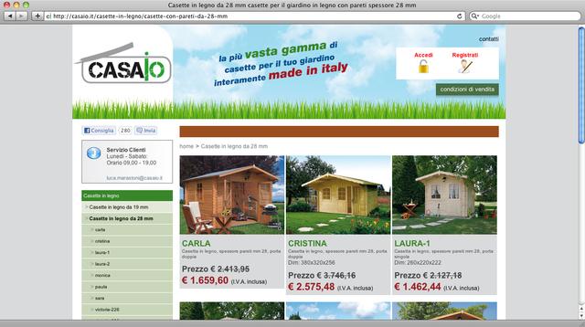 il catalogo comprende casette in legno per giardino, box auto in legno, case prefabbricate in legno, bungalow...