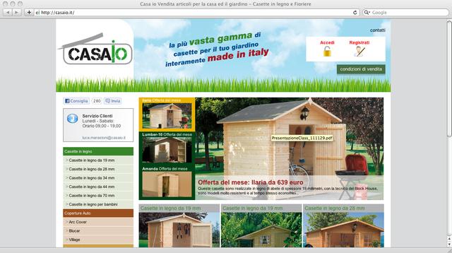 e-commerce delle casette in legno per giardino