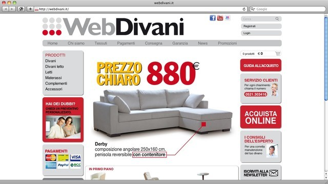 e-commerce per Webdivani